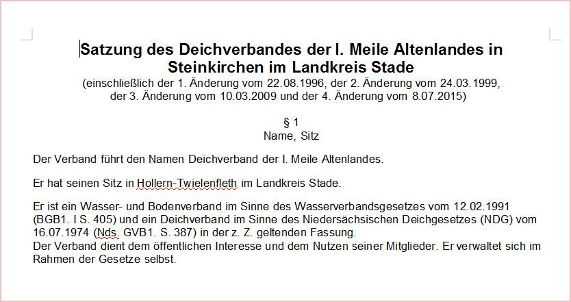 Satzung des Deichverbandes der I. Meile Altenlandes inSteinkirchen im Landkreis Stade